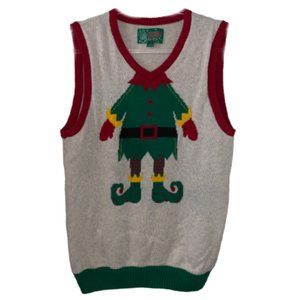 Ugly Christmas Sweater Vest, Elf Body - Size Large